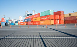 Ports of Auckland Container storage area. Royalty Free Stock Photo