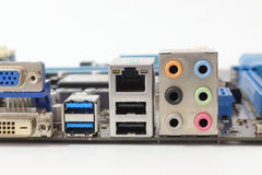 Ports on the computer port. Stock Photo