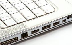 Ports de côté d'ordinateur portatif photographie stock libre de droits