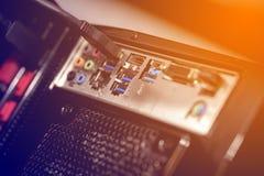 Ports de connexion d'ordinateur de bureau photo libre de droits