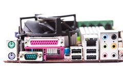 Ports on the motherboard Royalty Free Stock Image