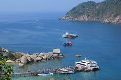 Ports at Nangyuan Island. April 8, 2014 Tourist attractions on White Sand Beach at Koh Nangyuan Surat Thani, Thailand Royalty Free Stock Photos