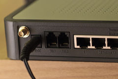 Ports on network hub router Royalty Free Stock Photography