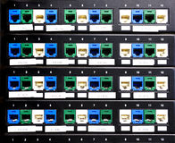 Ports of patch panel on rack in the server Royalty Free Stock Photography