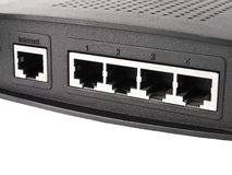 Ports of router. Internet port and four LAN ports Royalty Free Stock Photography
