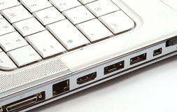Ports on side of laptop Royalty Free Stock Photography