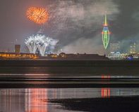 Portsmouth hamn, Gunwharf kajfyrverkerier Arkivbild