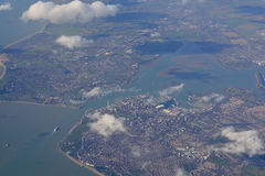 Portsmouth, Hampshire, England from the air Royalty Free Stock Photos