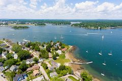Portsmouth Harbor aerial view, New Castle, NH, USA Stock Image