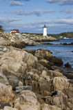 Portsmouth Harbor Lighthouse Guiding Boats Stock Photo