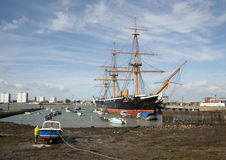 Portsmouth harbour and HMS Warrior Royalty Free Stock Photo