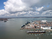 Portsmouth harbour and Naval Dockyard. Portsmouth  Harbour and Naval Dockyard from the spinnaker Tower Stock Image