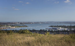 Portsmouth Harbour, UK. Elevated view of Portsmouth Harbour on the south coast of England Royalty Free Stock Image