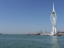 Portsmouth historic docks and The Spinnaka tower, Portsmouth, Hampshire. Royalty Free Stock Images