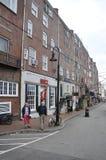 Portsmouth, le 30 juin : Bâtiments de rangée de vieux port de Portsmouth dans New Hampshire des Etats-Unis images stock