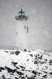 Portsmouth Light Shines During Snowstorm Royalty Free Stock Image