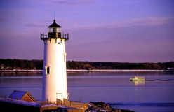 Portsmouth Lighthouse Guides Lobster Boat Royalty Free Stock Photo