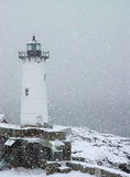 Portsmouth Lighthouse in Snowfall Royalty Free Stock Images
