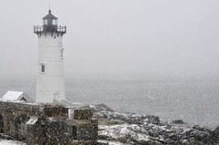 Portsmouth Lighthouse During Snowstorm Royalty Free Stock Photography