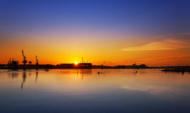 Portsmouth Navy Yard sunrise Royalty Free Stock Image