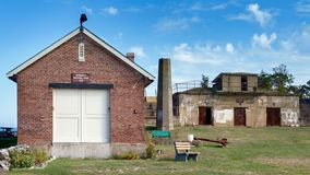 Portsmouth, New Hampshire, USA – October 17, 2017: Fort Stark Historic Site with Ordnance Machine Shop 1910 and Battery Hays. 1905. New Hampshire, USA royalty free stock photo