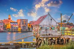 Portsmouth, New Hampshire, USA. River and cityscape stock photo