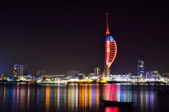 Portsmouth at Night. Portsmouth night scene showing the illuminated Spinnaker Tower from Gosport Royalty Free Stock Photo