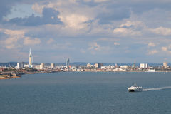 Portsmouth from the Solent. View of the city of Portsmouth and of Portsdown Hill from the Solent, Hampshire, England Royalty Free Stock Photo
