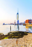 Portsmouth Spinaker tower at sunset Royalty Free Stock Photo