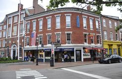 Portsmouth, 30th June: Historic Buildings from Market Square Downtown of Portsmouth in New Hampshire of USA Stock Photos