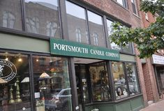 Portsmouth, 30th June: Historic Candle Company Buildings from Downtown Portsmouth in New Hampshire of USA stock image