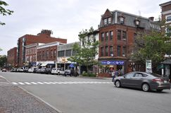 Portsmouth, 30th June: Historic Congress Street from Downtown Portsmouth in New Hampshire of USA royalty free stock photo