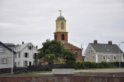 Portsmouth, 30th June: St John`s Episcopal Church from Downtown of Portsmouth in New Hampshire of USA royalty free stock image