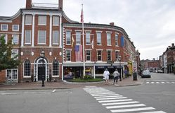 Portsmouth 30th Juni: Athenaeumbyggnad från i stadens centrum Portsmouth i New Hampshire av USA royaltyfri bild