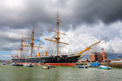PORTSMOUTH, UK -AUGUST 14:  HMS Warrior, the first iron-clad bat Royalty Free Stock Photos
