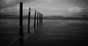 Portstewart Strand Posts B&W stock photos