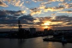 Portsumpfgebiete bei Sonnenuntergang lizenzfreie stockbilder