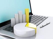 portátil 3d com cartas e gráfico conceito do escritório para negócios Isolat Imagens de Stock Royalty Free