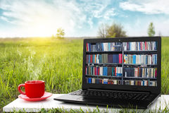 Portátil e copo do café quente na natureza pitoresca do fundo, escritório exterior Conceito da biblioteca de EBook Loja de livros Imagens de Stock