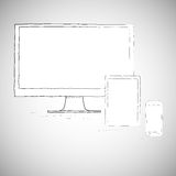 Portátil, telefone celular e tabuleta, eletrônicos Imagens de Stock