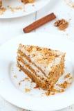 Porttion of handmade sliced carrot cake Stock Images