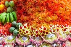 欢乐果子开花装饰,马德拉岛花节日, Portuga 库存照片