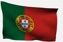 Portugal 3d flag. Isolated on white background Stock Image