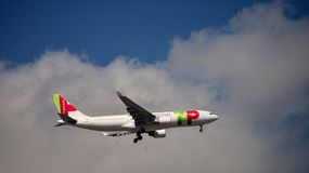 Portugal Airbus A330. A TAP Portugal Airbus A330 with the registration CS-TOK approaches Lisbon airport LIS Stock Photography