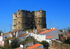 Portugal, Alentejo Region, Evora, Evoramonte. View of the historical Evoramonte castle, first built in the early 13th Century. A reconstruction campaign began Royalty Free Stock Image