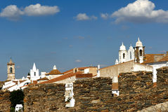 Portugal, Alentejo: village of Monsaraz. Portugal, Alentejo: Magnificent village of Monsaraz; traditional  street with small white houses and red tiles a typical Royalty Free Stock Photos