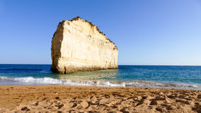 Portugal, Algarve beach with rocky coast Royalty Free Stock Images