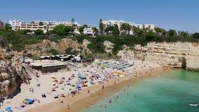 Portugal, Algarve beach with rocky coast - 4K stock footage