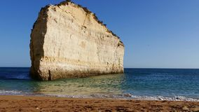 Portugal, Algarve beach with rocky coast stock footage