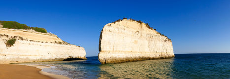 Portugal, Algarve beach sandstone coast - Panorama Picture Stock Photos